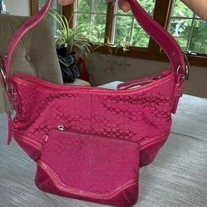Coach Bags - Coach Hot Pink Mini Hobo bag w/ Matching Wristlet